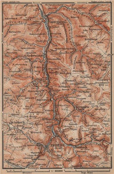 Associate Product TRIBERG & HORNBERG umgebung. Schwarzwald Wasserfälle Baden-Württemberg 1903 map