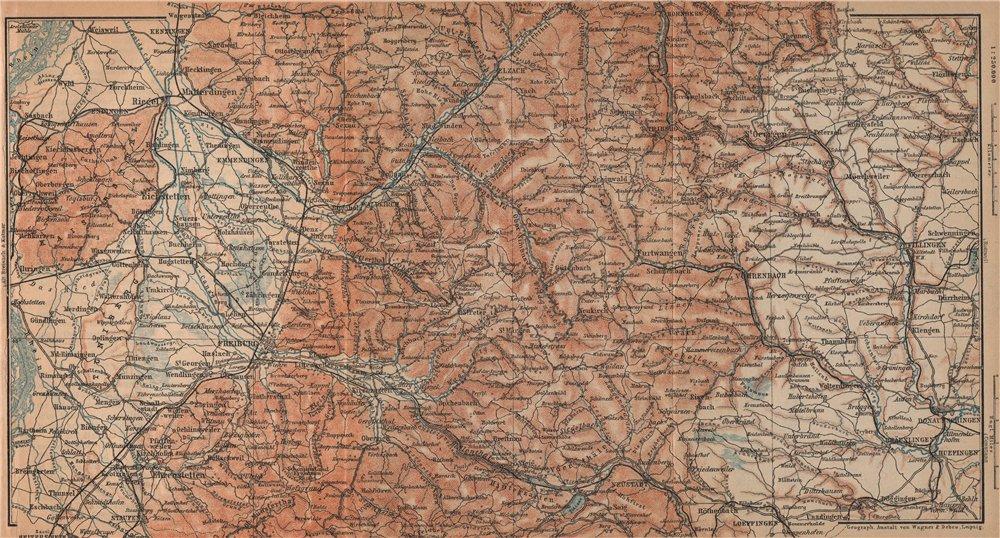 Associate Product SÜDSCHWARZWALD. SOUTHERN BLACK FOREST. Freiburg Villingen. Germany 1903 map