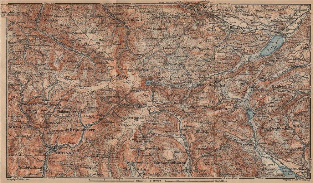 Associate Product SCHWARZWALD. BLACK FOREST. FELDBERG Todtnauberg Bisten Hintzarten Moor 1903 map