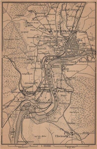Associate Product SCHAFFHAUSEN town city stadtplan & umgebung. Rheinfall. Rhine falls 1903 map