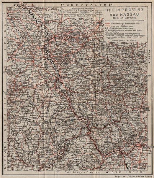 Associate Product RHEINPROVINZ & NASSAU. Rheinland-Pfalz Nordrhein-Westfalen Hessen Ruhr 1906 map