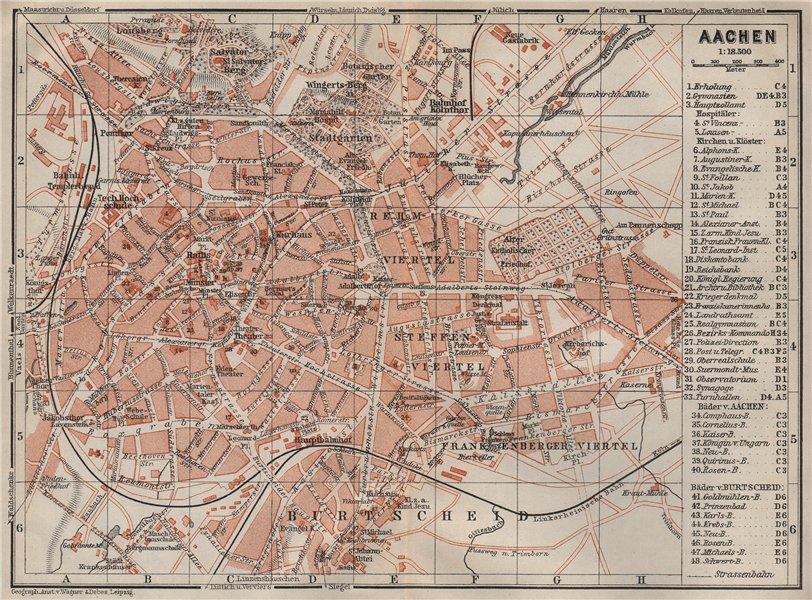 Associate Product AACHEN town city stadtplan. Northrhine-Westfalia. Aix-la-Chapelle 1906 old map