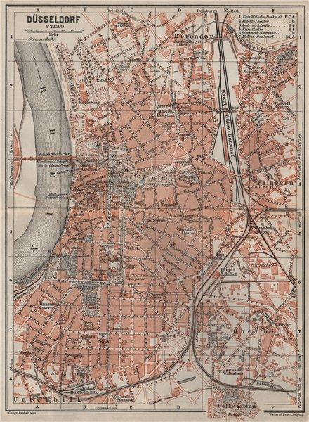 Associate Product DÜSSELDORF town city stadtplan. Northrhine-Westfalia. Dusseldorf karte 1906 map