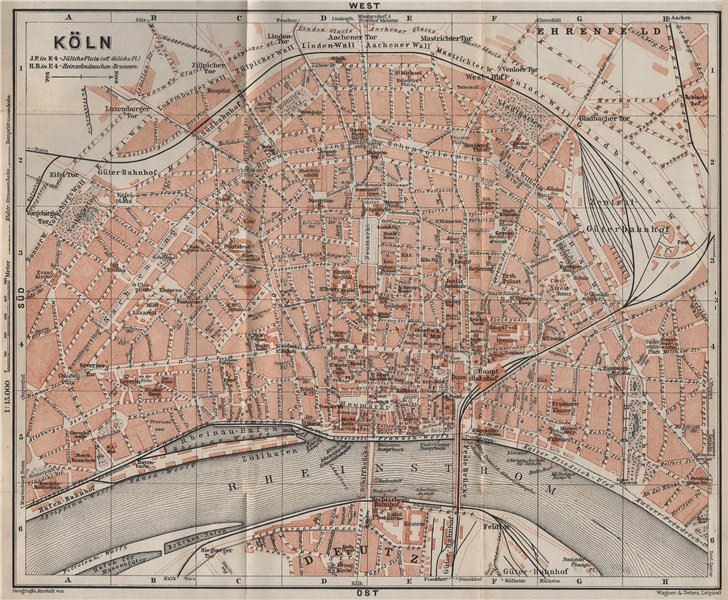 Associate Product KÖLN (COLOGNE) town city stadtplan. Northrhine-Westfalia. Koln karte 1906 map