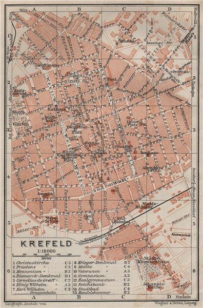 Associate Product KREFELD town city stadtplan. Northrhine-Westfalia. Crefeld karte 1906 old map