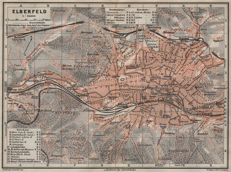 Associate Product ELBERFELD / WUPPERTAL  antique town city stadtplan. Germany karte 1906 old map