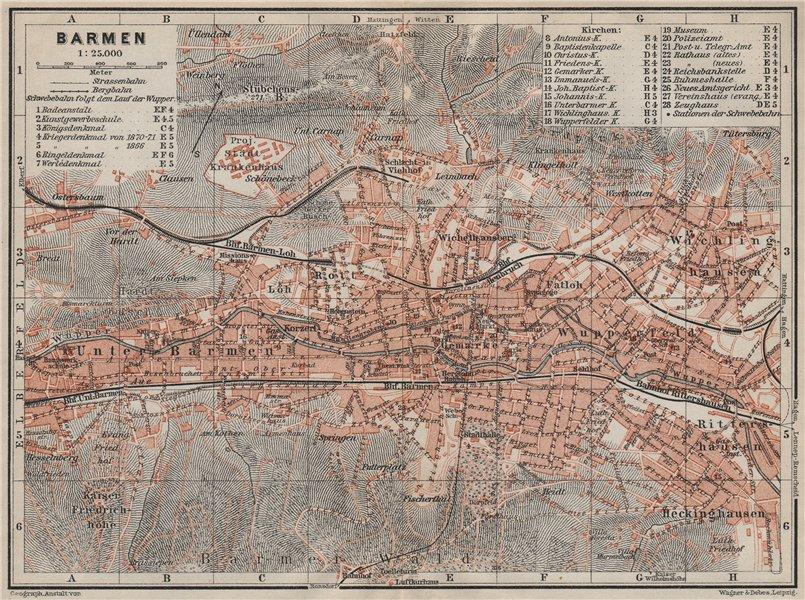 Associate Product BARMEN / WUPPERTAL antique town city stadtplan. Germany karte 1906 old map