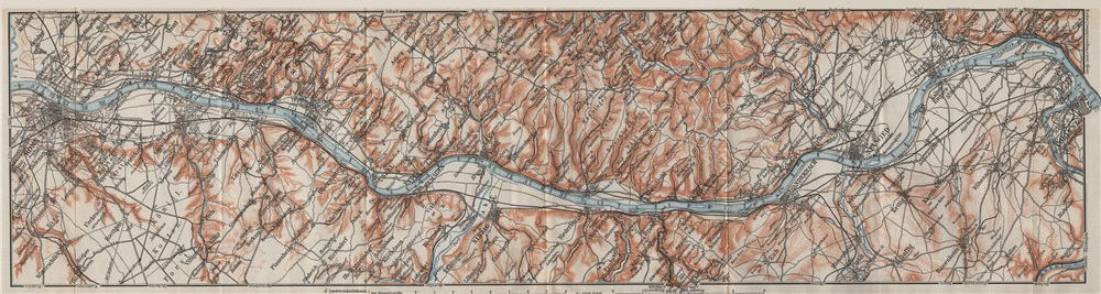 Associate Product RHINE/RHEIN. Bonn-Bad Godesberg-Remagen-Andernach-Neuwied-Koblenz 1906 old map