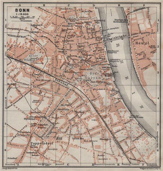 Associate Product BONN antique town city stadtplan. Northrhine-Westfalia karte. BAEDEKER 1906 map