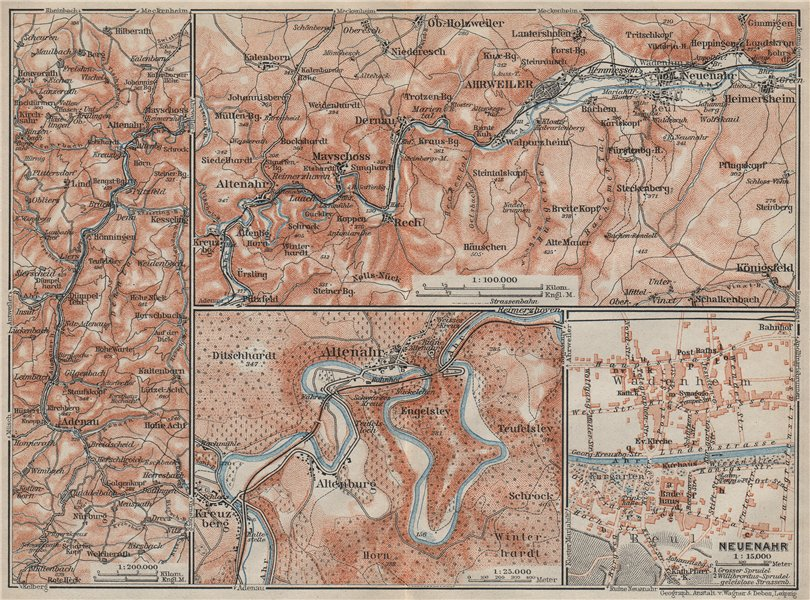 Associate Product AHRTAL. NEUENAHR town city stadtplan. Adenauer Bach. Altenahr Ahrweiler 1906 map