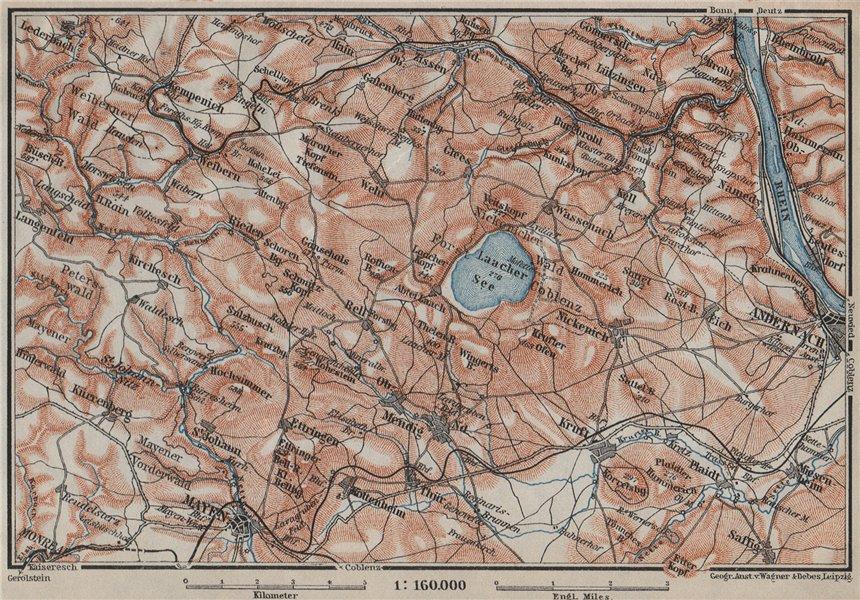 Associate Product LAACHER SEE. Vulkaneifel topo-map Andernach Mayen Rhineland-Palatinate 1906