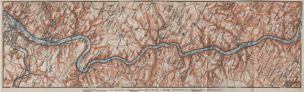 Associate Product RHINE/RHEIN. KOBLENZ-BINGEN Oberes Mittelrheintal Rhine Gorge topo-map 1906