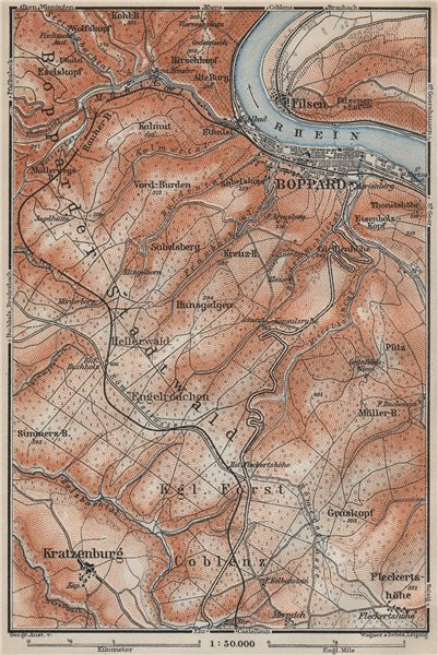 Associate Product BOPPARDER STADTWALD environs. Oberes Mittelrheintal. Rhine Gorge karte 1906 map