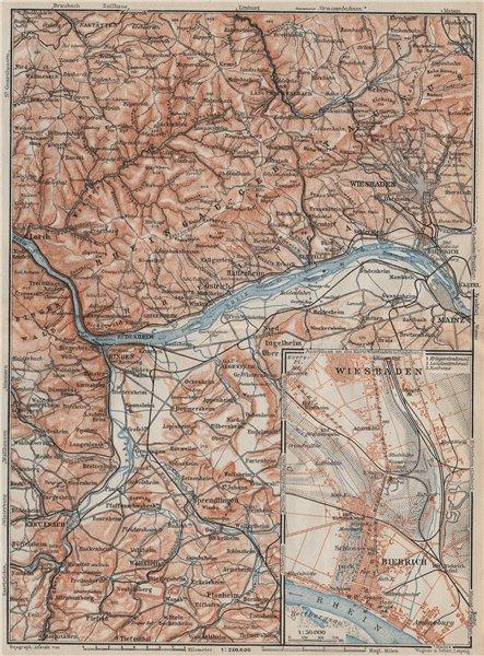 Associate Product THE RHEINGAU topo-map. Wiesbaden Lorch Rüdesheim Mainz. Germany karte 1906
