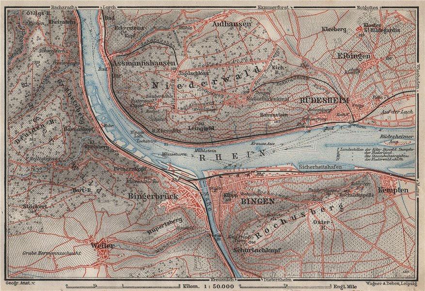 Associate Product RÜDESHEIM BINGEN. Niederwald. Oberes Mittelrheintal. Rhine Gorge karte 1906 map