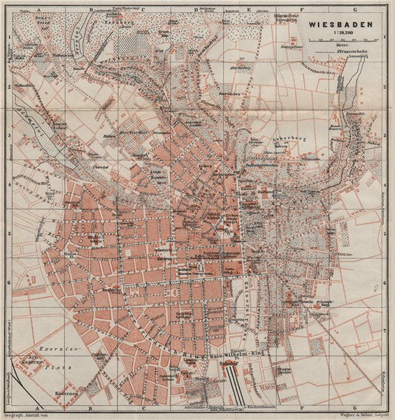 Associate Product WIESBADEN antique town city stadtplan. Hessen karte. BAEDEKER 1906 old map