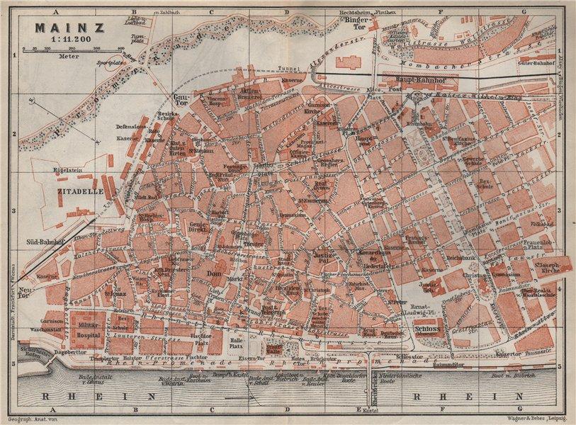 Associate Product MAINZ antique town city stadtplan. Rhineland-Palatinate. Mayence karte 1906 map