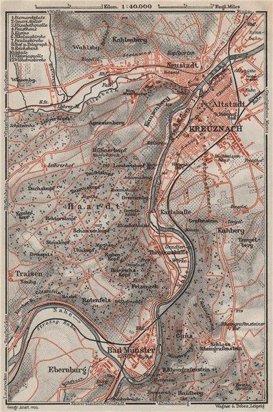 Associate Product BAD KREUZNACH und umgebung/environs. Rhineland-Palatinate karte 1906 old map