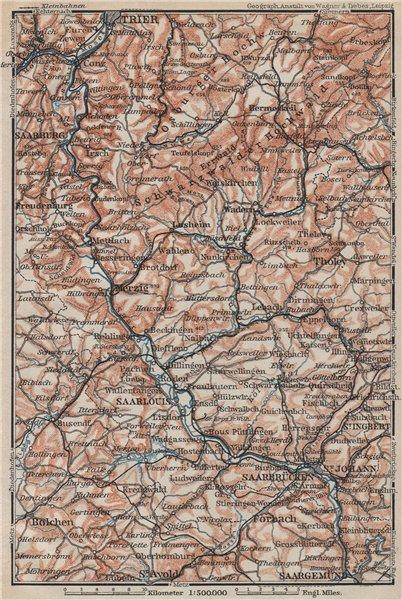 Associate Product SAAR SARRE RIVER VALLEY. Trier Saarbruckem Saarlouis Saarburg karte 1906 map