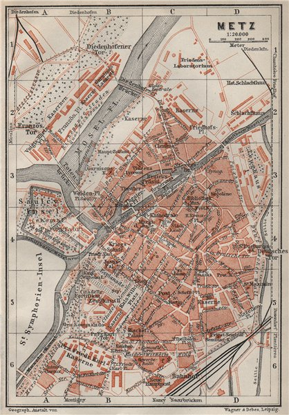 Associate Product METZ antique town city stadtplan. Moselle carte. BAEDEKER 1906 old map