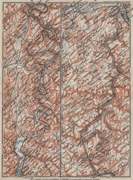 Associate Product MOSELLE. Trier-Schweich-Leiwen-Bernkastel-Kues-Koblenz. Treves Coblenz 1906 map