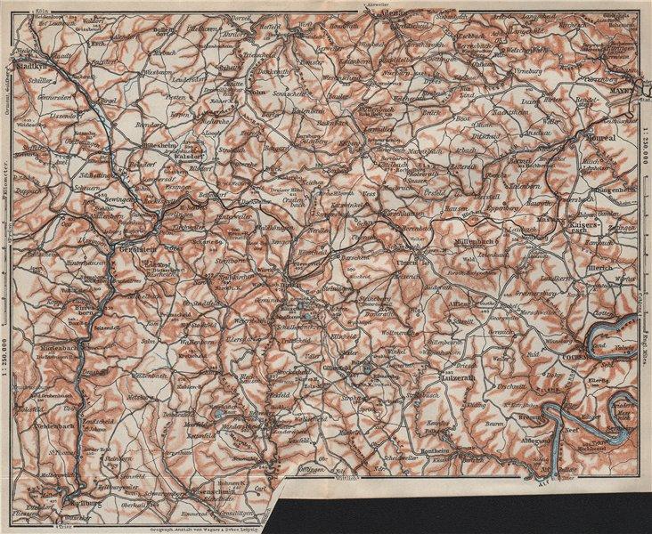 Associate Product VULKANEIFEL. THE VOLCANIC EIFEL topo-map. Gerolstein. Germany karte 1906