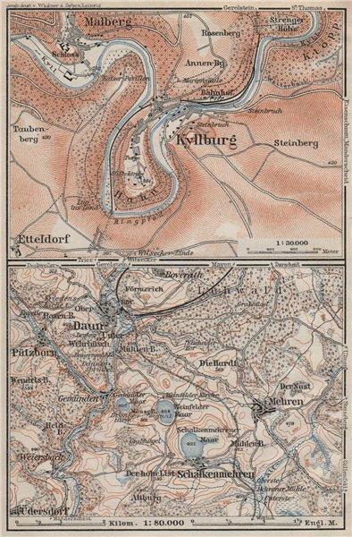 Associate Product KYLLBURG & DAUNER MAARE. Malberg Schalkenmehren. Rhineland-Palatinate 1906 map