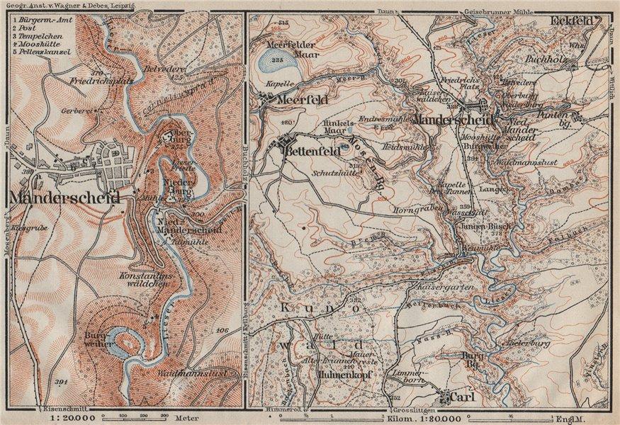 Associate Product MANDERSCHEID umgebung. Meerfelder Maar Bettenfeld Rhineland-Palatinate 1906 map