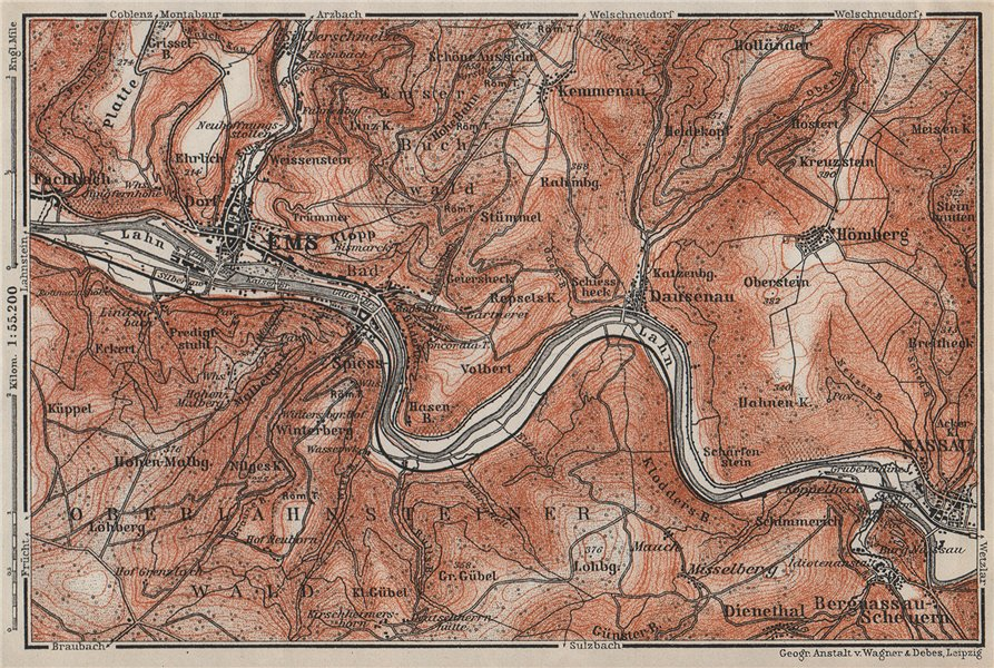 Associate Product BAD EMS & NASSAU environs. Dausenau Lahn. Deutschland karte. BAEDEKER 1906 map