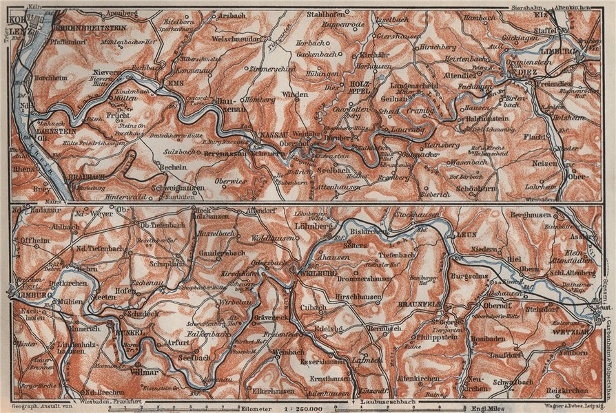 Associate Product LAHNTAL VALLEY. LahnsteinKoblenz Wetzlar Limburg WeilburgBad Ems 1906 map