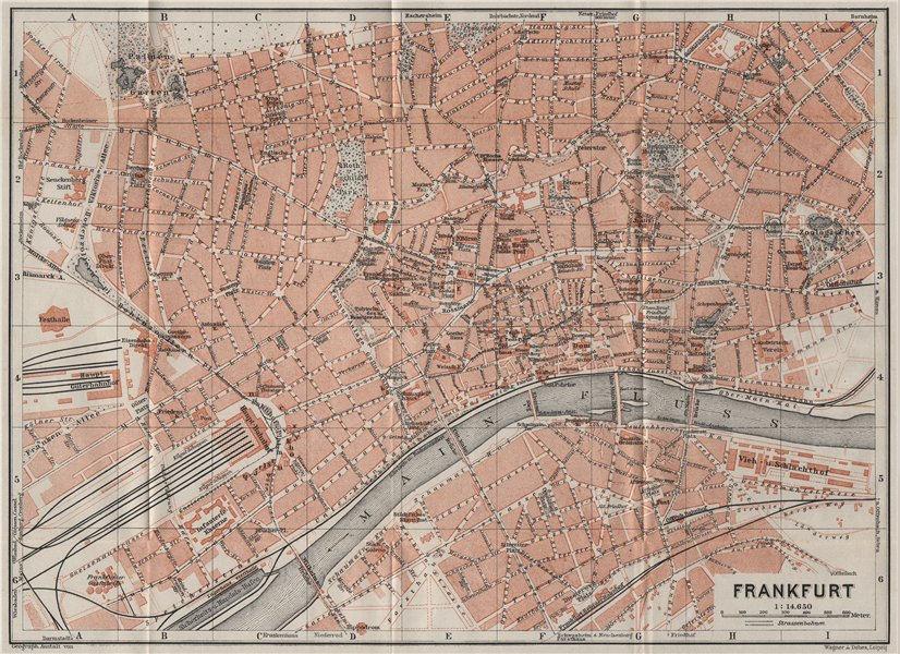 Associate Product FRANKFURT AM MAIN antique town city stadtplan. Hessen karte. BAEDEKER 1906 map