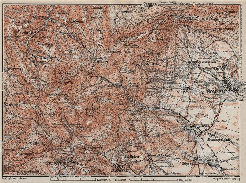 Associate Product TAUNUS & BAD HOMBURG VOR DER HÖHE environs/umgebung. Hessen karte 1906 old map