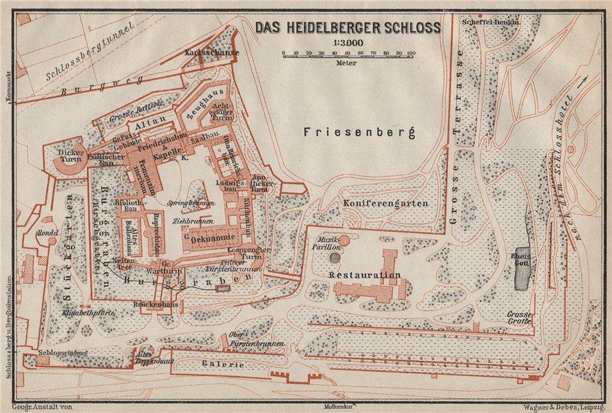 Associate Product HEIDELBERGER SCHLOSS Castle. Ground plan. Baden-Württemberg karte 1906 old map
