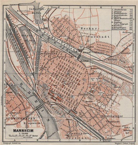 Associate Product MANNHEIM antique town city stadtplan. Baden-Württemberg karte 1906 old map