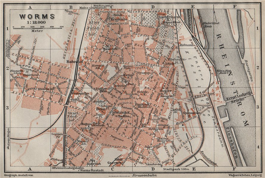 Associate Product WORMS town city stadtplan. Rhineland-Palatinate, Deutschland karte 1906 map