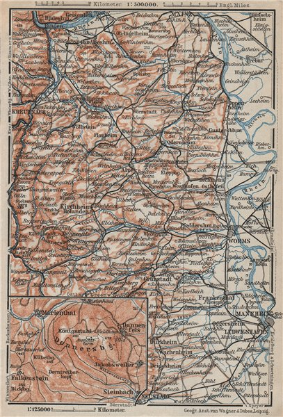 Associate Product RHEINHESSEN. RHENISH HESSE. Mainz Mannheim Worms Kreuznach. Germany 1906 map