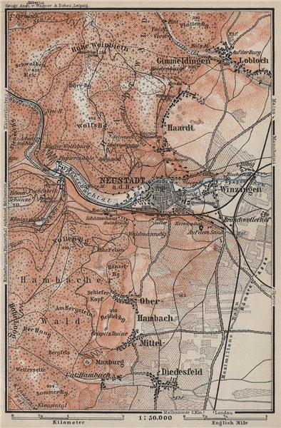 Associate Product NEUSTADT AN DER WEINSTRAßE & WINZINGEN. Neustadt an der Haardt karte 1906 map