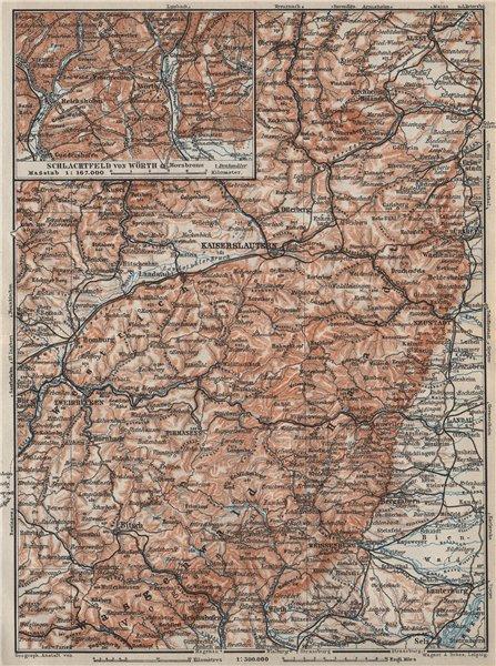 Associate Product PFÄLZERWALD. PALATINATE FOREST. Rheinpfalz. Kaiserslautern Weissenburg 1906 map