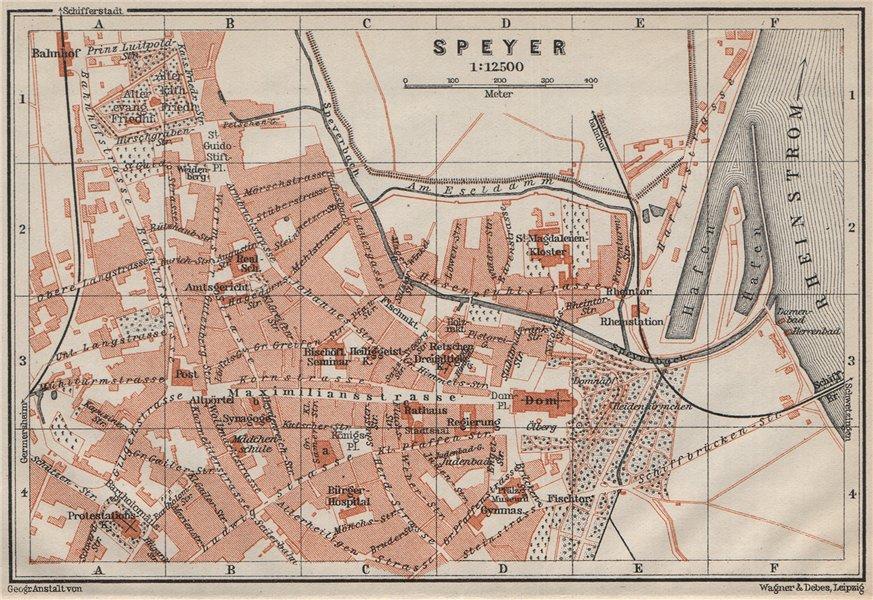 Associate Product SPEYER town city stadtplan. Rhineland-Palatinate, Deutschland. Spires 1906 map