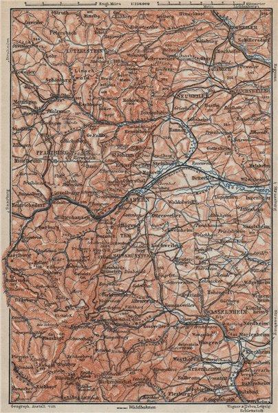 Associate Product NORTHERN VOSGES MOUNTAINS. Wasselonne Saverne Phalsbourg. Bas-Rhin 1906 map