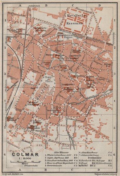 Associate Product COLMAR town city plan. Haut-Rhin, Alsace, France. Kolmar Colmer carte 1906 map