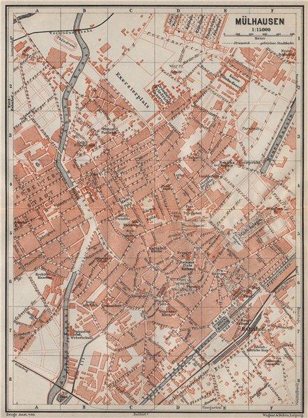 Associate Product MULHOUSE(MÜLHAUSEN MILHÜSA MILHÜSE) town city plan. Bas-Rhin, Alsace 1906 map
