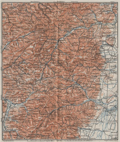 Associate Product CENTRAL VOSGES MOUNTAINS. St Die Schlettstadt Molsheim carte. BAEDEKER 1906 map