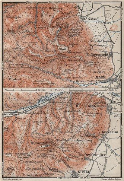 MONT SAINTE-ODILE & HAUT-KOENIGSBOURG. Barr. St-Hippolyte. Bas-Rhin 1906 map
