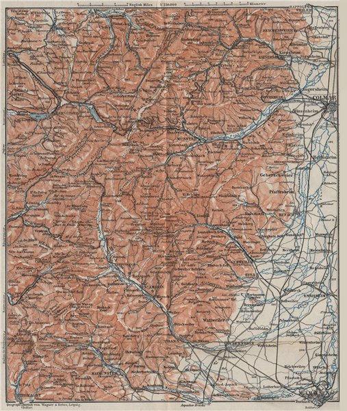 Associate Product SOUTHERN VOSGES MOUNTAINS. Colmar Mulhouse. Haut-Rhin carte. BAEDEKER 1906 map