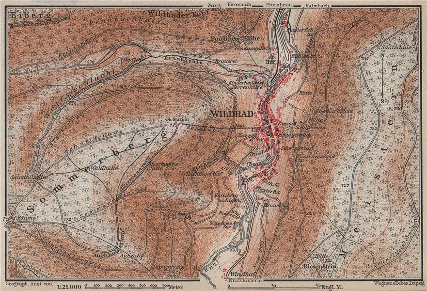 Associate Product BAD WILDBAD & environs/umgebung. Sommerberg. Baden-Württemberg karte 1906 map