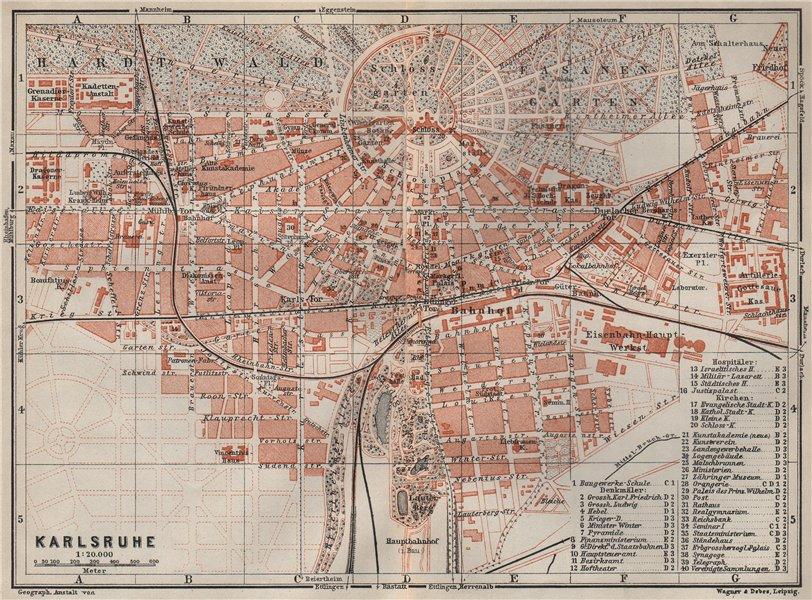 Associate Product KARLSRUHE antique town city stadtplan. Baden-Württemberg karte 1906 old map