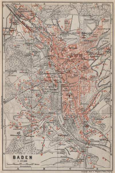 Associate Product BADEN-BADEN town city stadtplan & environs/umgebung. Germany karte 1906 map