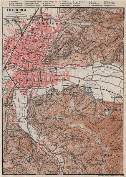 Associate Product FREIBURG town city stadtplan & umgebung. Gunterstal. Baden-Württemberg 1906 map