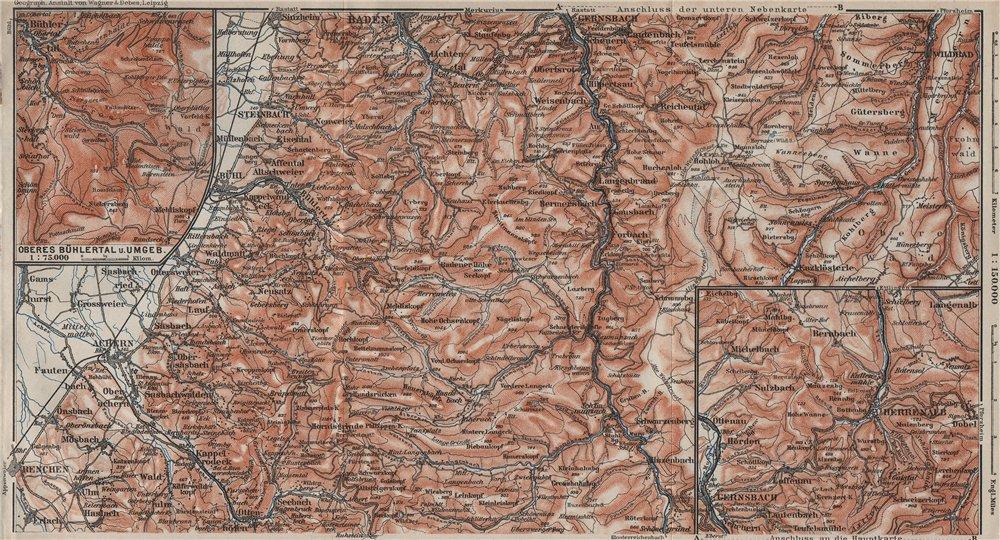Associate Product SCHWARZWALD 1. BLACK FOREST. MURGTAL. Kaltenbronn Hornisgrande Wildbad 1906 map